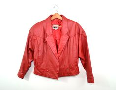 Vintage Leather Jacket Red Leather Jacket Red by founditinatlanta