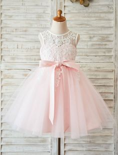 Tutu Flower Girl Dress Ivory Lace Princess Toddler's Pageant Dress With Ribbon Sash