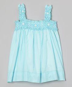 Look what I found on #zulily! Aqua Flower Smocked Shift Dress - Infant & Toddler #zulilyfinds