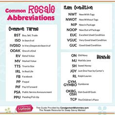Common Resale Abbreviations - Acronyms for Kids Consignment Sales, Buy, Sell, Trade Groups and More! Ebay Selling Tips, Selling Online, Ebay Tips, Second Hand Fashion, Resale Clothing, Kids Clothing, Garage Sale Tips, Chart Tool, Consignment Shops