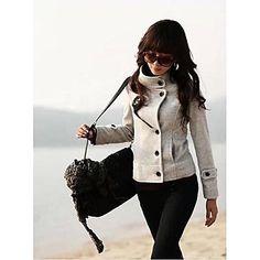 Women's Stand Short Woolen Coat - ILS ₪ 102.75