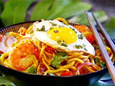 Shrimp Stir-Fry with Fried Egg and Flavored Vinegar from CookingChannelTV.com