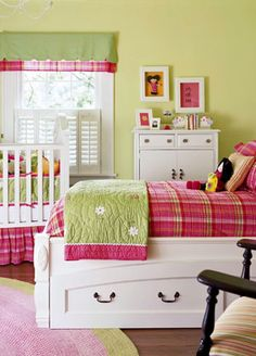 18 Adorable Girl Rooms: Fun for All (via Parents.com). I'm thinking this green would make a good color for Olivia's room.