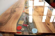 Tailor table, epoxy resin, walnut wood.