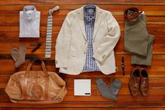 Beige Harrison Houndstooth Sport Coat ($625). Blue Bengal Oxford ($135). Olive Shelton Pant ($165). Mcguire Gingham ($135). Grey Beckett Micro Dot Sock ($28). Paxton Stripe Tie ($85). Waverly Pocket Square ($35). Cognac Millington Belt ($155). Shoes, watch, razor, and bag (stylist's own).