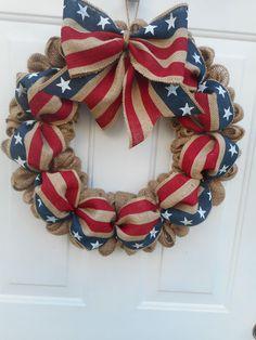Patriotic burlap wreath Americana burlap wreath Stars n Stripes burlap wreath Patriotic door decor Americana decor Memorial Day July 4th RTS