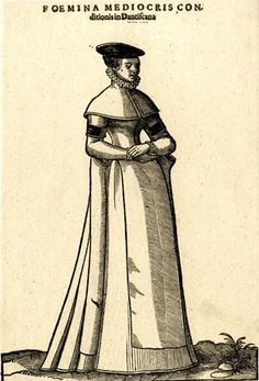 Plate 56: A craftsman's wife from Danzig; whole-length figure in three-quarter profile to right; wearing a short cloak with ruff over a plain dress and a flat, black headdress; illustration to Hans Weigel's 'Habitus Praecipuorum Populorum ... das ist Trachtenbuch', 2nd ed., Ulm: Kühn for Görlin, 1639.  1577  Woodcut and letterpress