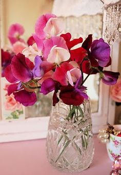 "From the Language of Flowers--as a birthday guide.  Sweet Pea flower was for April.  ""It is said to symbolise pleasure or good-bye. In the Victorian era, these flowers formed a part of the bouquet which was sent to someone to convey gratefulness."""