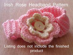 Free Baby Crochet Patterns | Baby Girl Irish Rose Headband Crochet Pattern by CNCole87 on Etsy