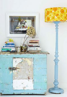 rustic blue console table
