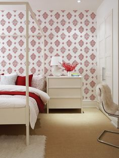 red+white palette for bedroom | House & Home