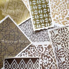 Layering Moroccan stencil patterns done in soft metallic colors with Royal Stencil Cremes #stencils #stencilpatterns #moroccan