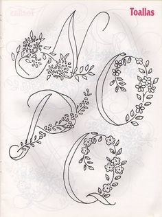 Templates For Fabric Crafts: Alphabets to Embroider Embroidery Alphabet, Embroidery Monogram, Silk Ribbon Embroidery, Hand Embroidery Patterns, Vintage Embroidery, Beaded Embroidery, Cross Stitch Embroidery, Collages D'images, Needlework