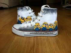 Minion Converse Shoes-Hand Painted on High Top Authentic Converse