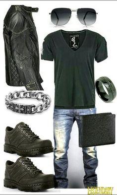 casual outfit, Jean azul desgastado, franela negra, chaqueta de cuero negra