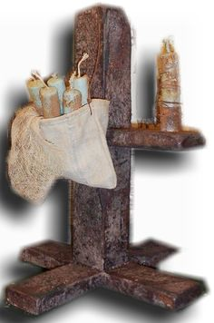 1794 Early Grunged Wood Candle Stand...