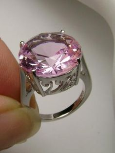Rare~ 8ct Round Cut Pink Morganite Solid Sterling Silver 925 Filigree Ring size 7