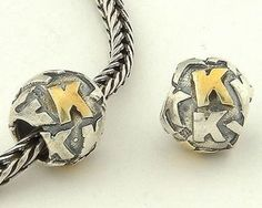 CLLE03SK 925 Sterling Silver Alphabet letter K Pandora Charms beads Pandora Letters