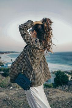 Checked blazer & Slip Dress - http://www.collagevintage.com/2016/11/checked-blazer-slip-dress/