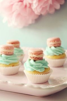 mini macs on cupcakes, so sweet