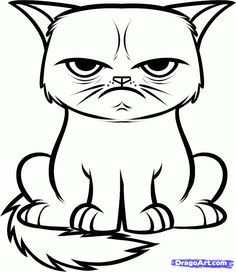How to Draw the Grumpy Cat, Tard the Grumpy Cat, Step by Step, Characters, Pop Culture, FREE Online Drawing Tutorial, Added by Dawn, Decembe...