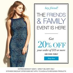 Get 20% off! Friends and family event!!! #sale #discount #avon #memorialdaysale #memorialday #coupon #couponcode #friendsandfamily #shopping