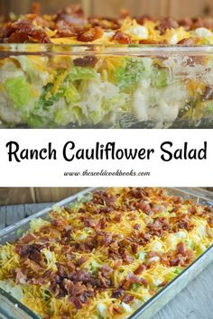 Ranch Cauliflower Salad Recipe topped with Bacon and Cheese This Ranch Cauliflower salad featuring romaine lettuce, chopped cauliflower, ranch dressing and bacon is reminiscent of the traditional seven layer salad without all the layering work. Lettuce Salad Recipes, Chickpea Salad Recipes, Bacon Salad, Bacon Recipes, Easy Salads, Healthy Salad Recipes, Savory Salads, Cheesy Recipes, Yummy Recipes