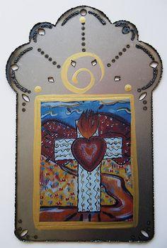 Cross of the Sacred Heart, Catholic Folk Art Collage from Santa Fe, New Mexico, Christina Miller Artist Catholic Art, Religious Art, Handmade Shop, Handmade Crafts, Christina Miller, Hand Art, Mexican Folk Art, Etsy Crafts, Sacred Heart
