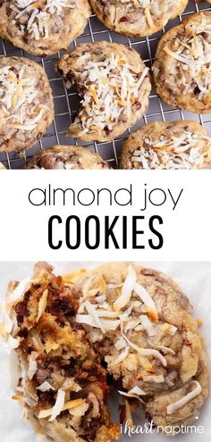 Rich and buttery cookie dough packed full of shredded coconut, chocolate chips, almonds and Almond Joy candy pieces. These Almond Joy cookies are an over-the-top indulgent treat that will become a new favorite! Delicious Cookie Recipes, Most Delicious Recipe, Yummy Cookies, Snack Recipes, Yummy Food, Easy Kid Friendly Dinners, Almond Joy Cookies, Make Ahead Appetizers, Favorite Cookie Recipe