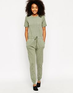 Image 1 of ASOS Washed Casual Jumpsuit With Drawstring