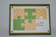 """handmade card ... puzzle with piece missing ... """"Miss You""""  stamped where the missing piece should go ..."""