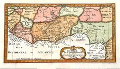 Antique map of Africa, the Gulf of Guinea, N. Sanson, 1705,Y 2001