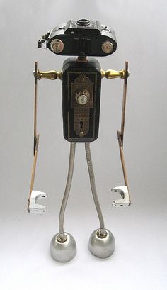 Armod 497 - Found Object Robot Assemblage Sculpture by Brian Marshall - love the camera head