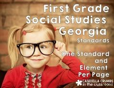 I typed the First Grade Social Studies Georgia Standards of Excellence - one standard with one element per page. In my classroom I printed them on colored copy paper and hung a laminated colored sentence strip that matched underneath to write the essential question easily to go with the standard.