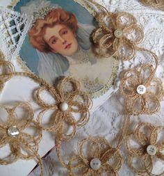 Burlap Daisy Chain Garland - Rustic - Farmhouse - Country - Burlap Wedding on Etsy, $15.49