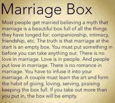 """Take it from someone married 43 years (11/8/69) ~"" Truer words were never spoken. If more people knew & accepted this, there would be far fewer divorces. Also bear in mind that one person cannot fill that box alone no matter how hard they try."