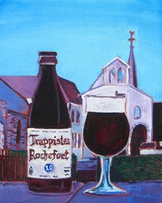 Beer Painting of Trappistes Rochefort 10 Belgian Ale. Year of Beer Paintings - Day 231.