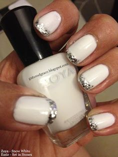 Zoya Snow White and Essie Set in Stones - love the glitter french tips!