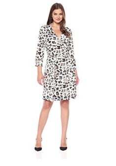 Lark & Ro Women's 3/4 Sleeve Patterned Wrap Dress...for more details & Buying visit link