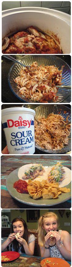 creamy crock pot chicken tacos