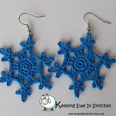 The Cornflower Blue Snowflake Earrings are a beautiful medium blue. Perfect for when you need just the right pop of blue!  Crochet with 100% Egyptian cotton and hypoallergenic Stainless Steel earring hooks.  Cornflower Blue Snowflake Earrings are light an