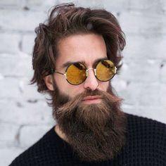 Long Full Beard + Messy Medium Length Hair