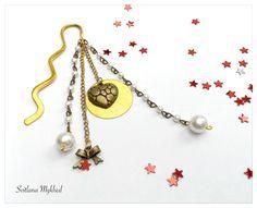 """Marque pages """"Cœur doré"""" . Métal bronzé et doré . Création unique : Marque-pages par perles-et-couronnes"""