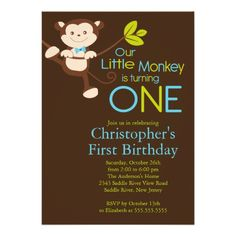 Cute Modern Monkey 1st Birthday Party Invitations