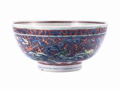 A wucai 'dragon' bowl, Mark and period of Wanli