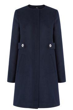 Collarless Tab Detail Coat