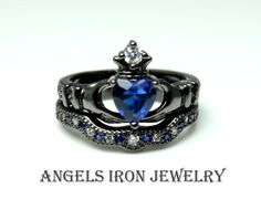 Black Claddagh Ring Set Enagement Irish Celtic Wedding Anniversary Promise Crown Heart  Rings Blue Sapphire CZ Unique Gothic Jewelry via ANGELS IRON. Click on the image to see more!