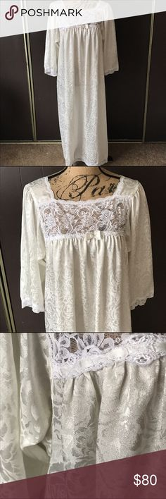 Vintage Christian Dior Night gown ❤️ Beautiful vintage nightgown. Cream colored floral and white lace detailing. I am not sure of the size but it seems to be about a medium. By Christian Dior Christian Dior Intimates & Sleepwear Chemises & Slips