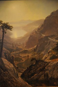 Learn more about View Of Donner Lake California Albert Bierstadt - oil artwork, painted by one of the most celebrated masters in the history of art. Landscape Art, Landscape Paintings, Nature Paintings, Oil Paintings, Albert Bierstadt Paintings, California Dates, California History, Canvas Wall Art, Wild West