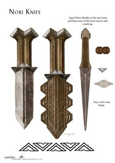 """Concept art for Nori's knife from Weta Workshop for """"The Hobbit: An Unexpected Journey"""" (2012)."""